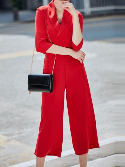 Red Lapel Short Blazer Top With Pants