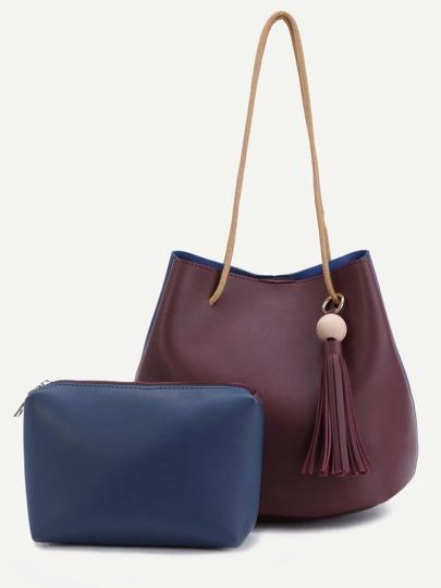 Color Block PU Tassel Trim Tote Bag Set