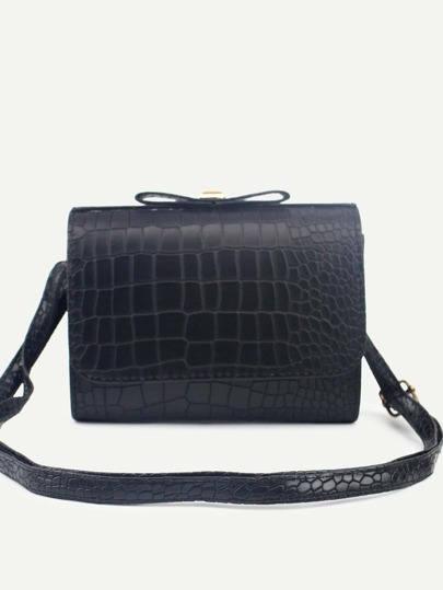 Black Faux Leather Crocodile Embossed Flap Shoulder Bag