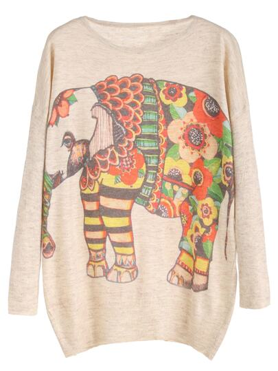 Beige Elephant Print Drop Shoulder Jersey Sweater