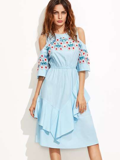 Blue Crochet Applique Open Shoulder Ruffle Dress