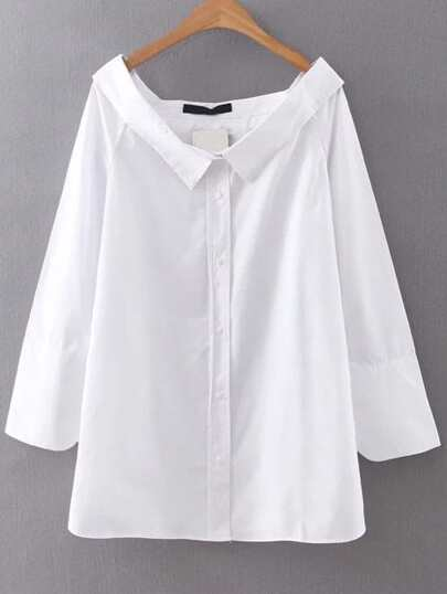 White Boat Neck Button Up Blouse
