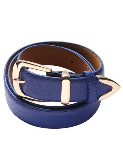 Deep Blue Metal Buckle Belt