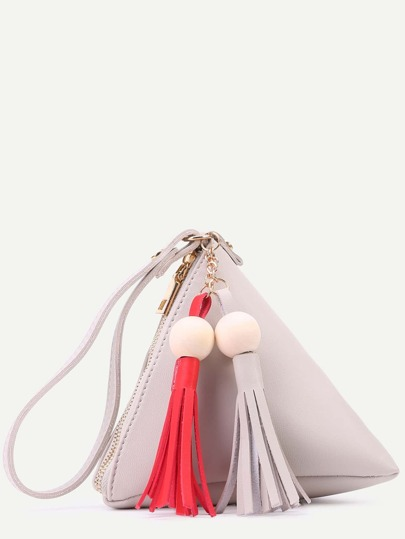 Grey PU Tetrahedron Design Tassel Trim Zip Closure Handbag