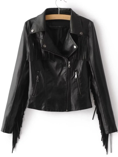 Black Oblique Zipper Fringe Detail PU Jacket