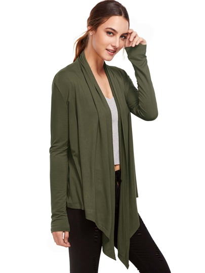 Army Green Open Vorderseite Vorhang Strickjacke