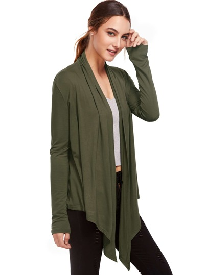 Army Green Open Front Drape Cardigan Sweater