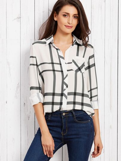 White Plaid Curved Hem Shirt
