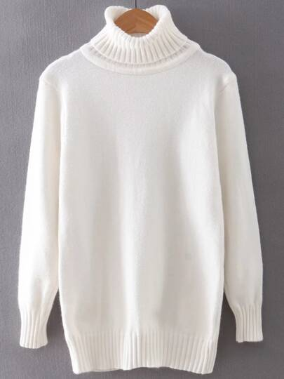 White Turtleneck Ribbed Trim Sweater