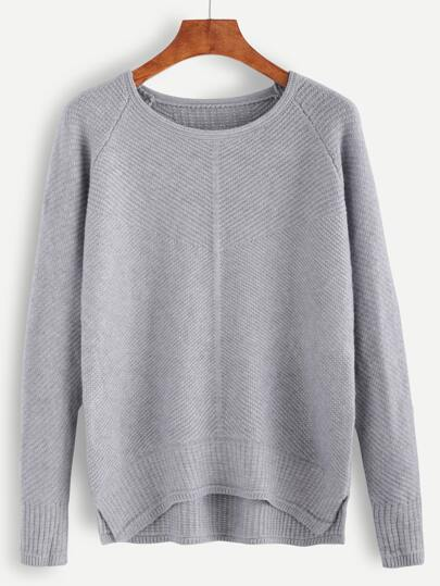 Grey Raglan Sleeve High Low Sweater