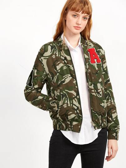 Olive Green Camo Print Bomber Jacket With Patch