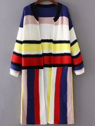 Multicolor Striped Open Front Long Cardigan