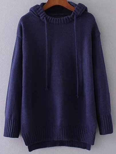 Navy Drawstring Hooded Dip Hem Sweater