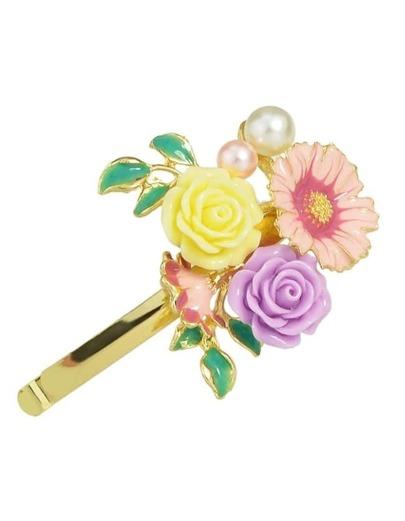 Gold Enamel Flower Hair Clip