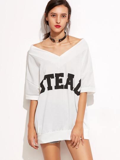 White Letters Print V Neck T-shirt