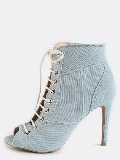Patchwork Stiletto Ankle Booties LIGHT BLUE