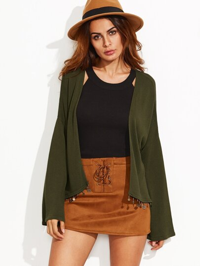 Olive Green Drop Shoulder Coin Fringe Cardigan