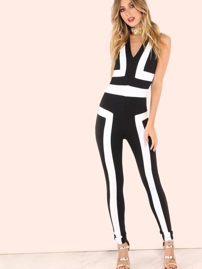 Sleeveless V Contrast Skinny Jumpsuit BLACK