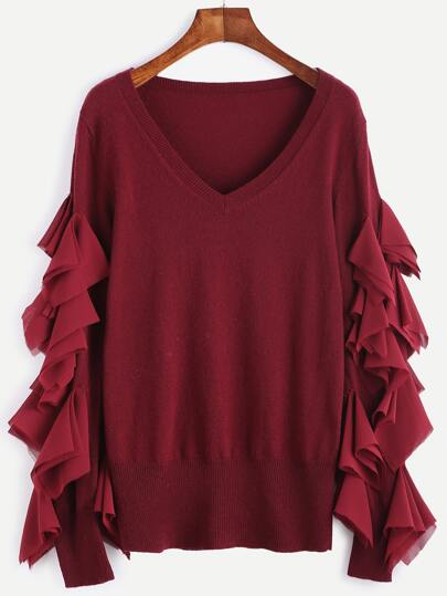 Burgundy V Neck Splicing Chiffon Ruffle Sweater