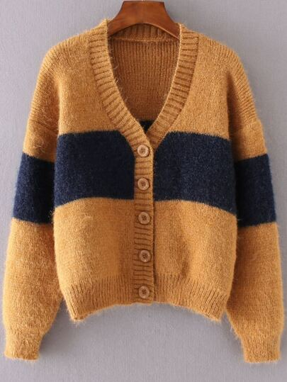 Ginger Color Block Button Up Mohair Sweater Coat