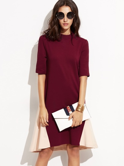 Contrast Mock Neck Swing Dress