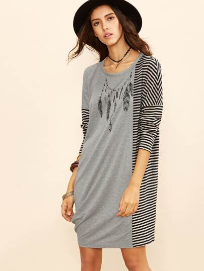 Heather Grey Feather Necklace Print Striped Panel Dress