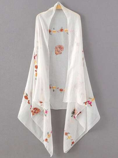 White Flower Embroidery Vintage Scarf