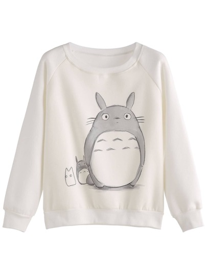 Beige Cartoon Print Raglan Sleeve Sweatshirt