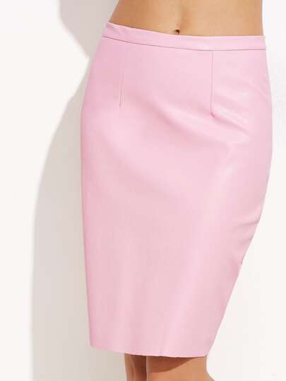 Pink Faux Leather Split Zip Back Pencil Skirt