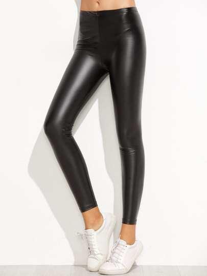 Elastic Waist PU Skinny Leggings
