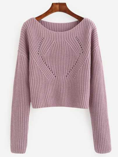 Pale Purple Hollow Out Long Sleeve Sweater