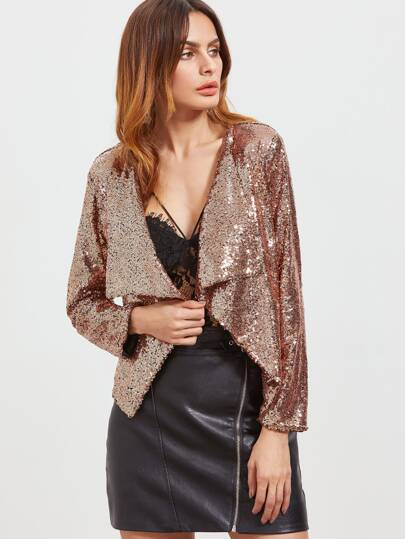 Waterfall Sequins Sharp Hem Blazer