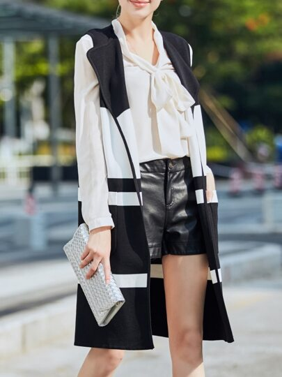 White Lapel Contrast Black Vest