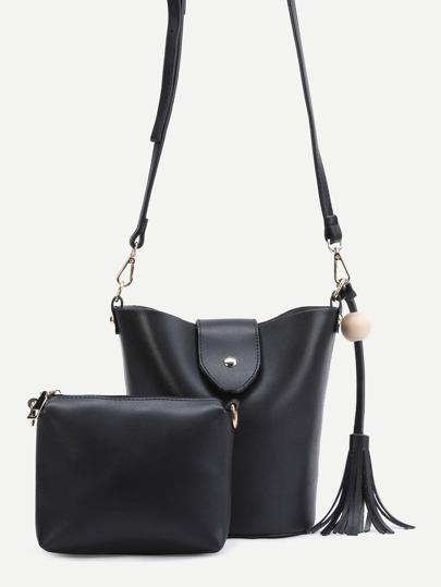 Black PU Tassel Trim Convertible Shoulder Bag Set