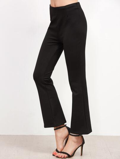 Black Zipper Back Flare Pants