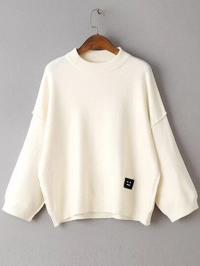 Beige Face Patch Drop Shoulder Sweater