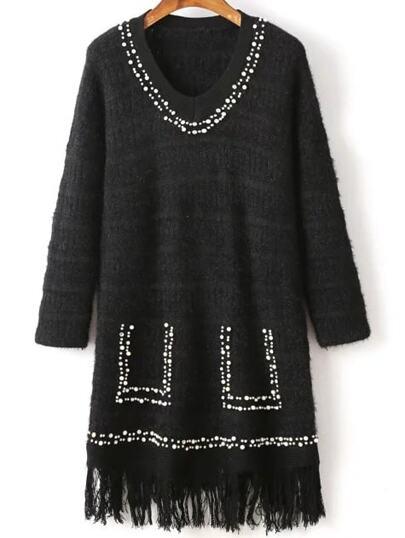 Black Beaded V Neck Fringe Hem Sweater Dress