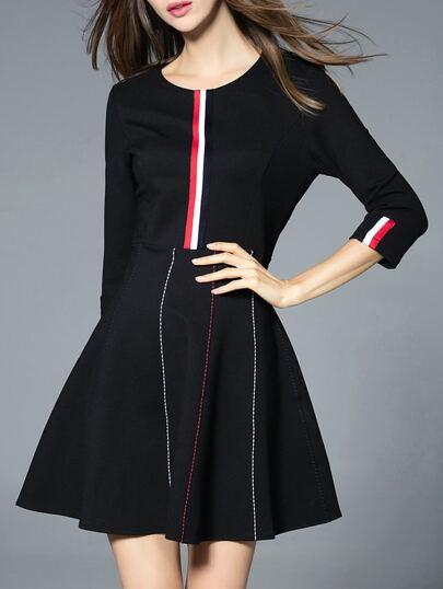 Vestido línea A de color combinado - negro