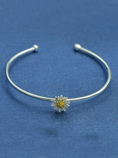 New Design 925 Silver Adjustable Cuff Bracelet With Flower