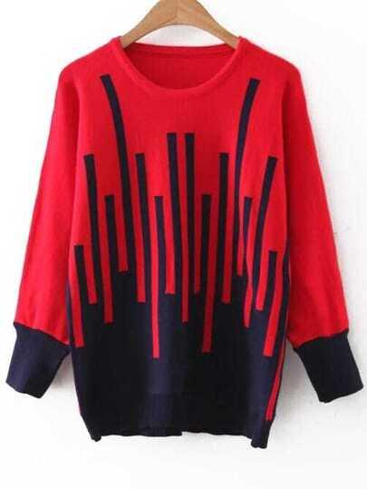Red Graphic Pattern Round Neck Sweater