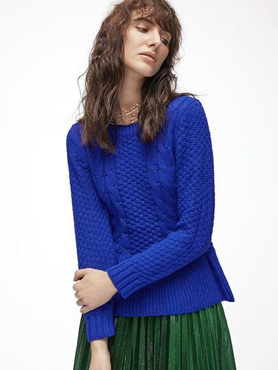 Royal Blue Ruffle Hem Cable Knit Sweater