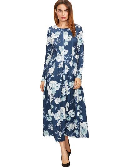 Marine-Blumen-Druck-Maxi-Hemd-Kleid
