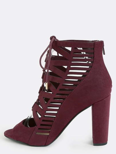 Geometric Cut Out Chunky Heels BURGUNDY