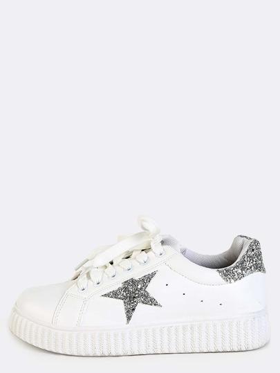 Round Toe Glitter Platform Sneakers WHITE