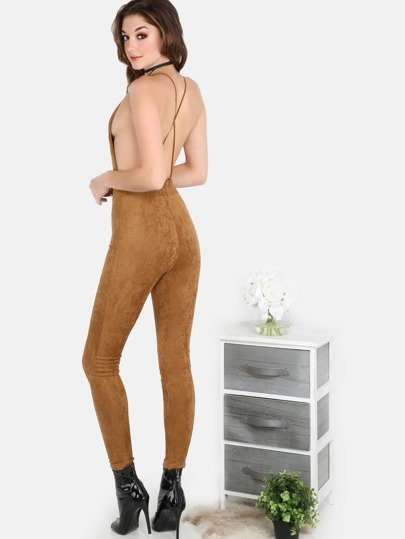Faux Suede Backless Crossover Jumpsuit CAMEL