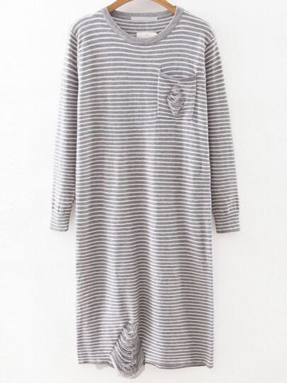 Grey Striped Ripped Detail Knit Dress With Pocket