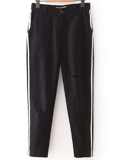 Black Side Striped Ripped Casual Pants