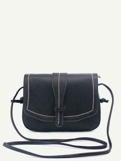 Black Faux Leather Saddle Bag