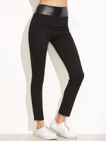 Black Wide PU Waistband Skinny Pants