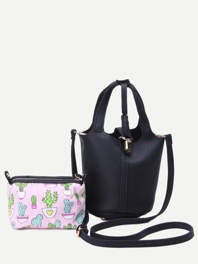 Black Pebbled PU Bucket Bag With Cartoon Print Clutch